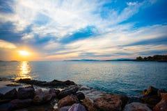 Zmierzch nad morzem w Grecja zdjęcie royalty free