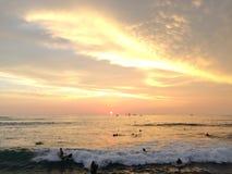 Zmierzch nad Pacyfik widok na ocean od Waikiki ściany w Honolulu na Oahu wyspie, Hawaje Fotografia Royalty Free