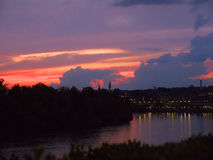 Zmierzch nad Potomac rzeką przy John F Kennedy sztuk Centre w washington dc usa Zdjęcie Royalty Free