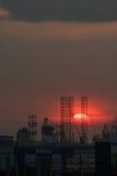 Zmierzch nad przemysłowym terenem - Singapur Zdjęcie Royalty Free