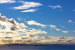 Zmierzch nad Puget Sound w Seattle, Waszyngton Fotografia Stock