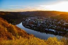 Zmierzch nad Rhine Zdjęcia Stock