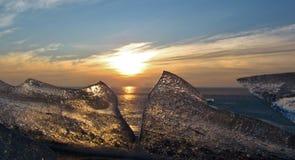 Zmierzch nad zamarzniętym morzem Fotografia Royalty Free