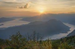 Zmierzch nad zatoką Kotor Montenegro Obrazy Royalty Free