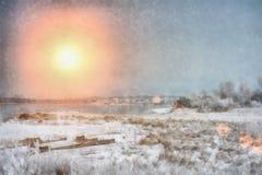 Zmierzch nad zima wieczór rzeką w Syberia Obrazy Royalty Free