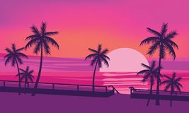 Zmierzch, ocean, wieczór, drzewka palmowe, denny brzeg, koloru nastrój, lato, wektor, ilustracja, odizolowywająca, kreskówka styl ilustracja wektor