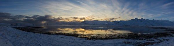 Zmierzch od Fjord na Iceland Fotografia Royalty Free