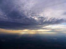 Zmierzch od samolotu Zdjęcie Royalty Free