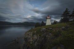Zmierzch, Odrewniały punkt, Gros Morne park narodowy, wodołaz & Zdjęcie Stock