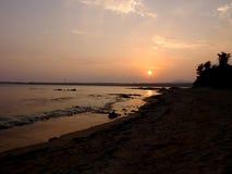 Zmierzch Okinawa Kanna plaża Fotografia Stock