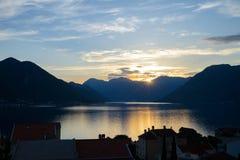 Zmierzch osaczony Kotor obrazy royalty free