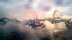 Zmierzch, półmrok przy marina - ilustracja ilustracja wektor