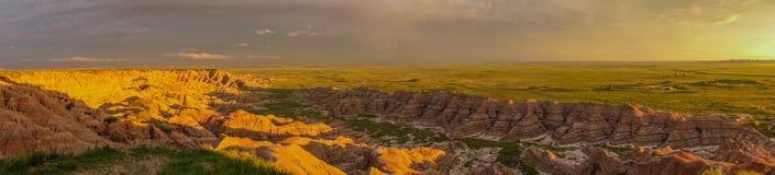 Zmierzch panorama, badlands park narodowy, SD Zdjęcie Royalty Free