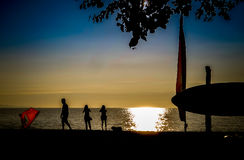 Zmierzch plaża Zdjęcie Stock
