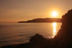 Zmierzch plaża, góra adriatic morza Montenegro Obrazy Royalty Free