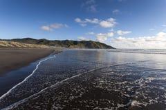 Zmierzch Plaża, Portowy Waikato Obraz Stock
