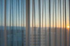 Zmierzch przez okno w Hamburg Zdjęcia Stock