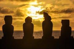 Zmierzch przy Ahu Tahai w Wielkanocnej wyspie, Chile Zdjęcie Stock