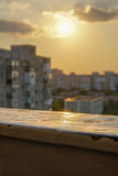 Zmierzch przy balkonem Obraz Stock