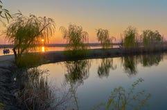 Zmierzch przy Comana jeziorem Zdjęcie Stock