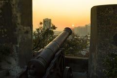 Zmierzch przy Fortaleza robi Monte Macau, Chiny, - Zdjęcia Royalty Free