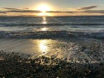 Zmierzch przy francuz plażą, BC Fotografia Royalty Free