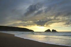 Zmierzch przy holywell zatoką, newquay UK zdjęcia royalty free