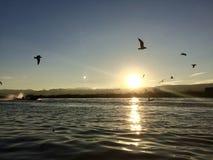 Zmierzch przy Inle jeziorem Obrazy Stock