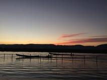 Zmierzch przy Inle jeziorem Obraz Royalty Free