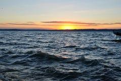 Zmierzch przy Jeziornym Balaton Zdjęcia Stock