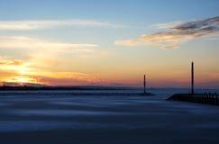 Zmierzch przy Jeziornym Balaton w zima czasie Fotografia Stock