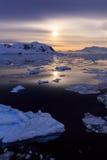 Zmierzch przy Lemaire kanałem, Antarctica Zdjęcia Stock