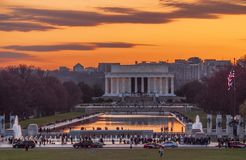 Zmierzch przy Lincoln pomnikiem obrazy royalty free
