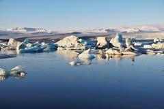 Zmierzch przy lodowiec laguną Fotografia Royalty Free