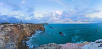 Zmierzch przy Los Morrillos latarnią morską, Cabo Rojo, Puerto Rico Zdjęcie Stock