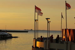 Zmierzch Przy Losari Makassar Południowy Sulawesi Indonezja Fotografia Stock