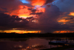 Zmierzch przy Loxahatchee obywatela rezerwatem dzikiej przyrody Fotografia Stock