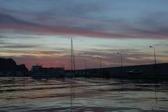 Zmierzch przy małym portowym Gökçeada Zdjęcie Royalty Free