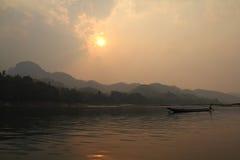 Zmierzch przy Mekong obraz stock