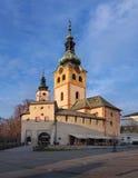Zmierzch przy miasto kasztelem w Banska Bystrica zdjęcie stock