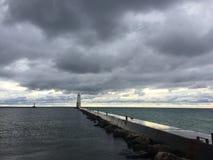 Zmierzch przy Michigan jeziorem zdjęcie royalty free