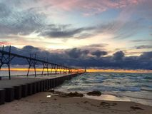 Zmierzch przy Michigan jeziorem fotografia royalty free