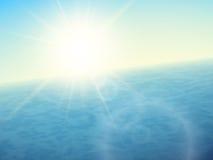 Zmierzch przy morzem, horyzont z lata słońcem ilustracja wektor