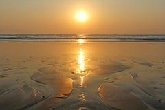 Zmierzch przy morzem India, Goa zdjęcie royalty free