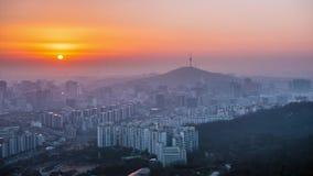Zmierzch przy Namsan wierza w Seul, korea po?udniowa zdjęcie wideo