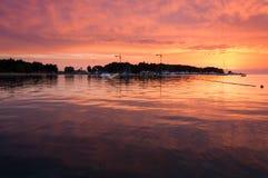 Zmierzch przy Narciarskim dźwignięciem Porec, wakeboarding park Obraz Royalty Free