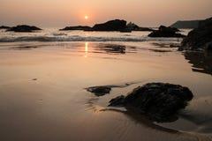 Zmierzch przy om plaży ind Fotografia Royalty Free