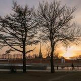 Zmierzch przy Petersburg, Peter i Paul fortecą, Obrazy Royalty Free