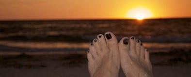 Zmierzch przy plażą Fotografia Royalty Free