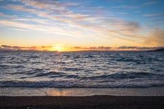 Zmierzch przy Południową plażą Obraz Royalty Free